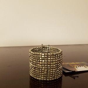 Beaded silver cuff bracelet